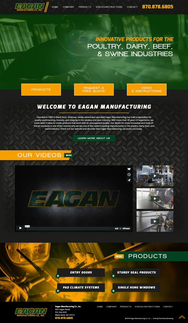 Eagan Manufacturing Full Web Design Image