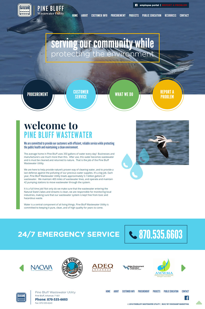 Pine Bluff Wastewater Utility Full Web Design Image