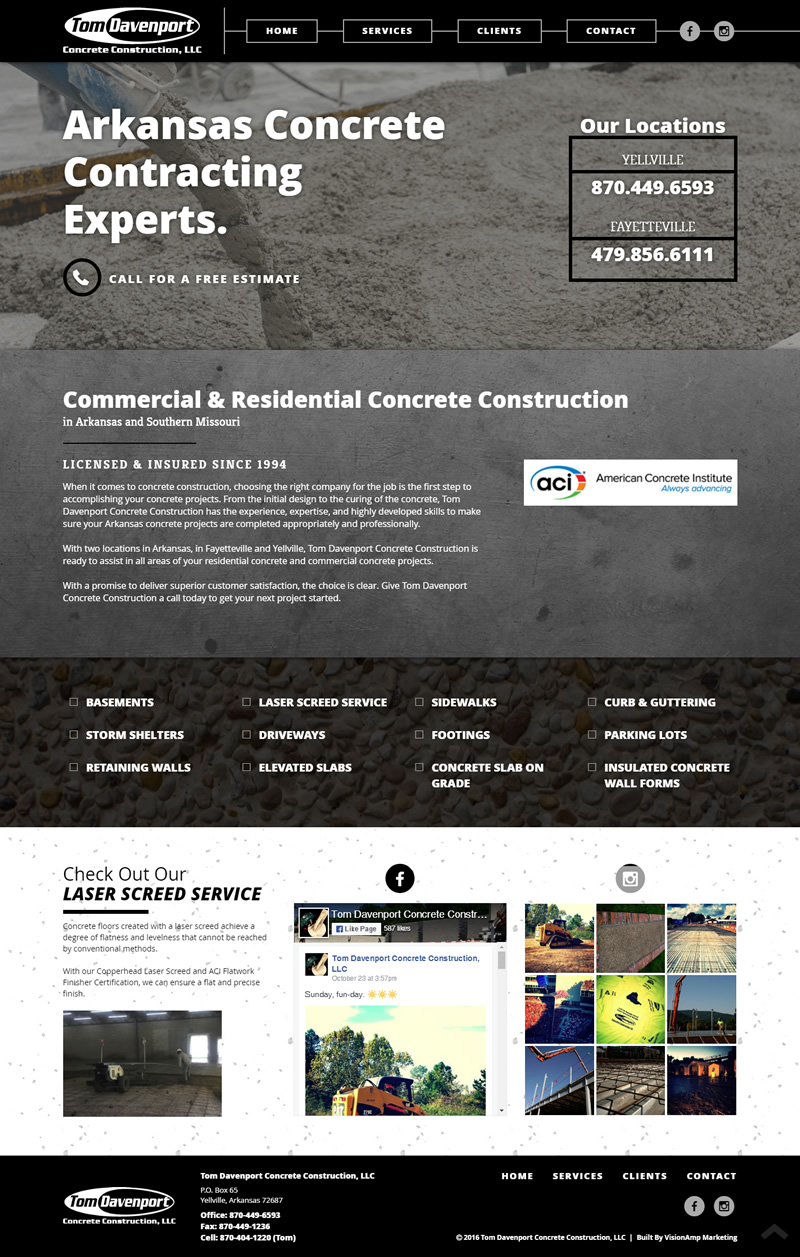 Tom Davenport Concrete Full Web Design Image