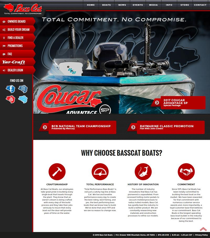Bass Cat Boats Full Web Design Image