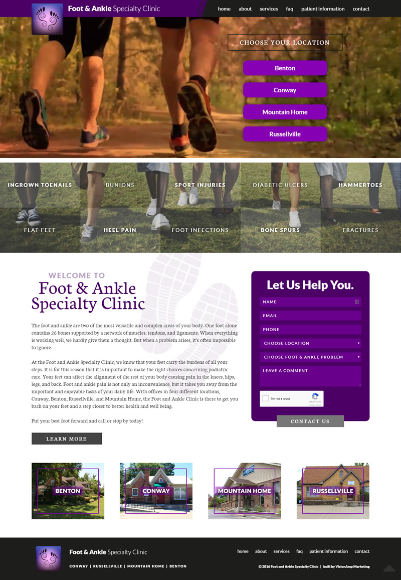 Foot and Ankle Specialty Clinic Full Web Design Image
