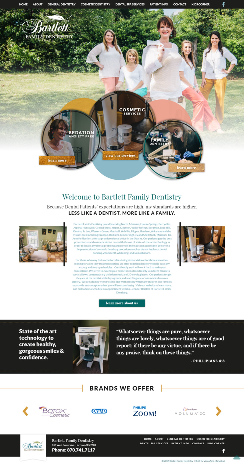 Bartlett Family Dentistry Full Web Design Image