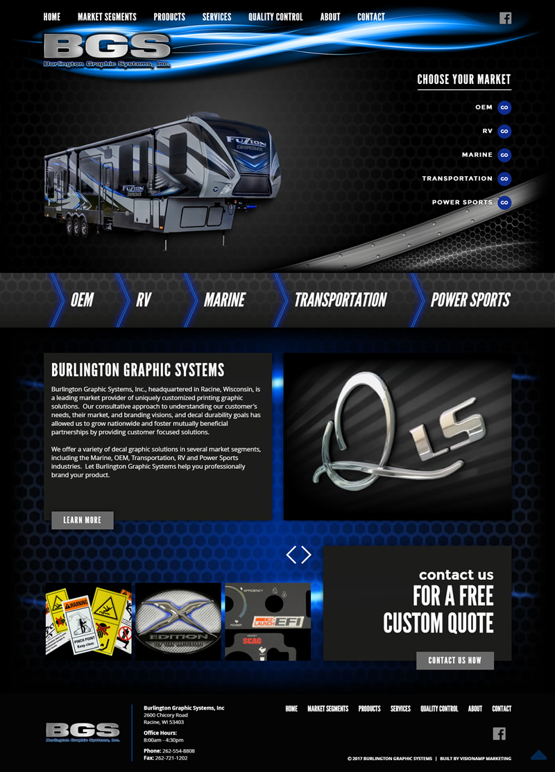 Burlington Graphic Systems Full Web Design Image