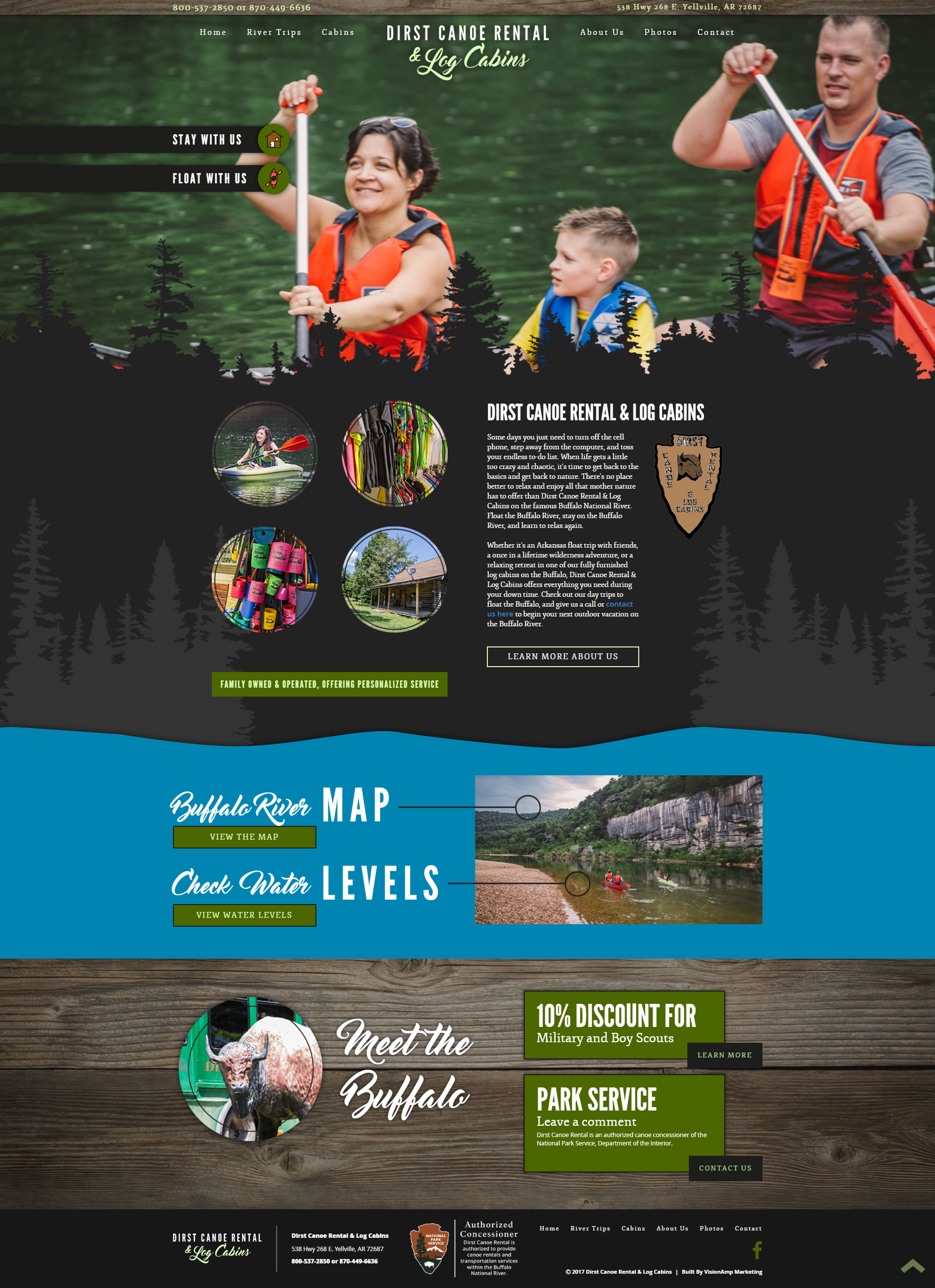 Dirst Canoe Rental Full Web Design Image