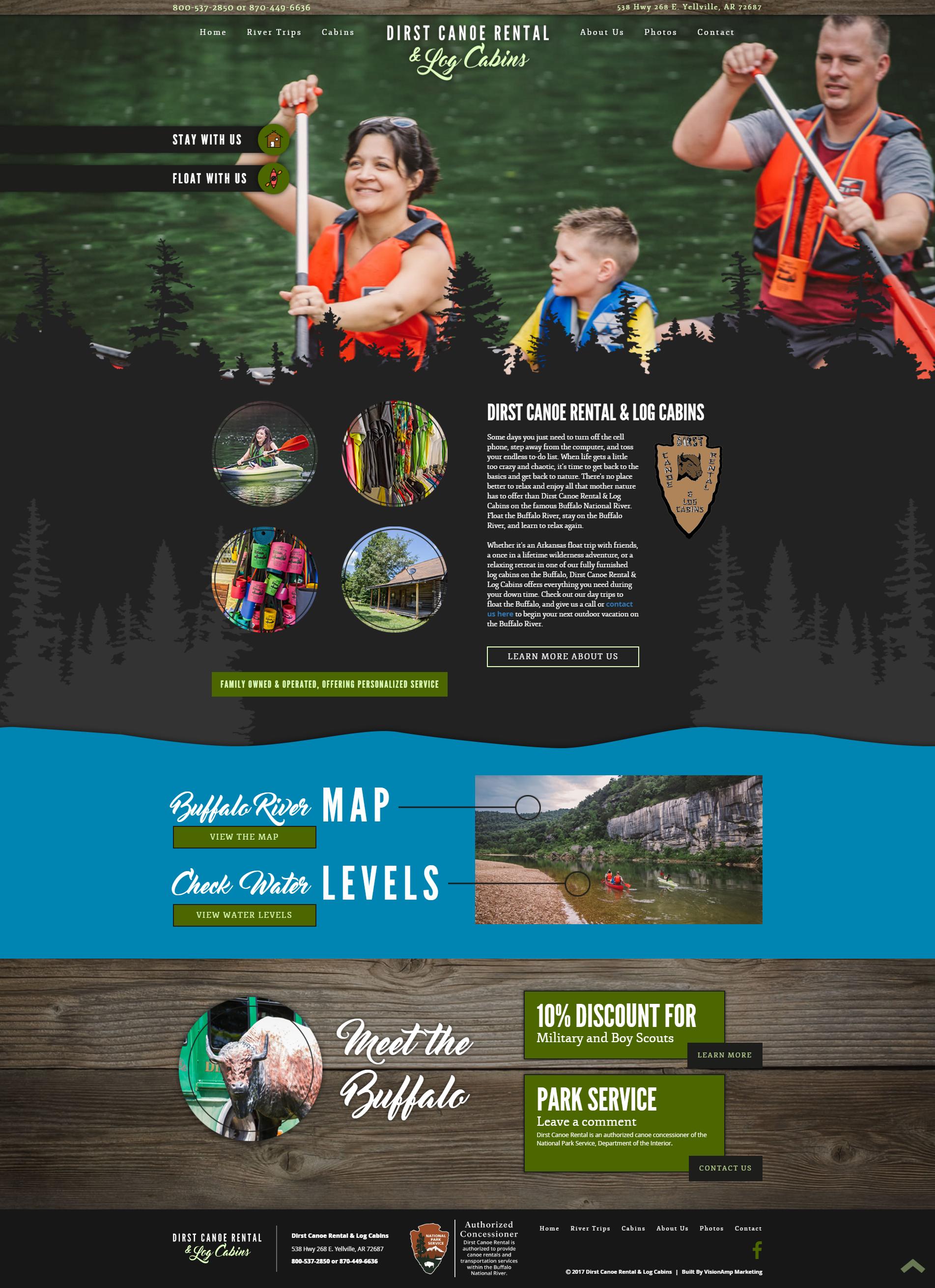Dirst Canoe Rental Full Web Design Image