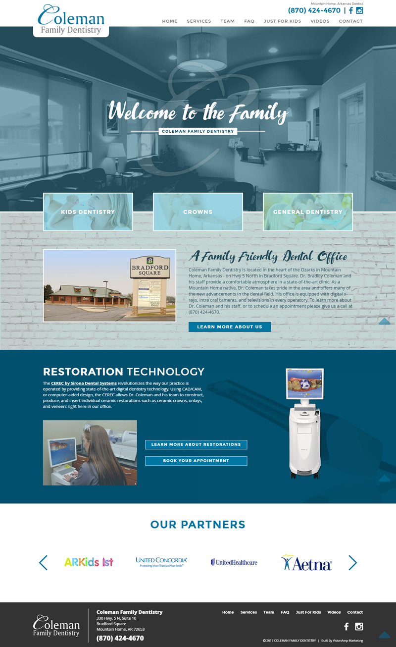 Coleman Family Dentistry Full Web Design Image