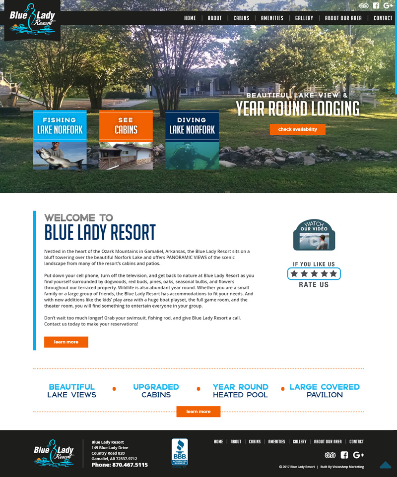 Blue Lady Resort Full Web Design Image