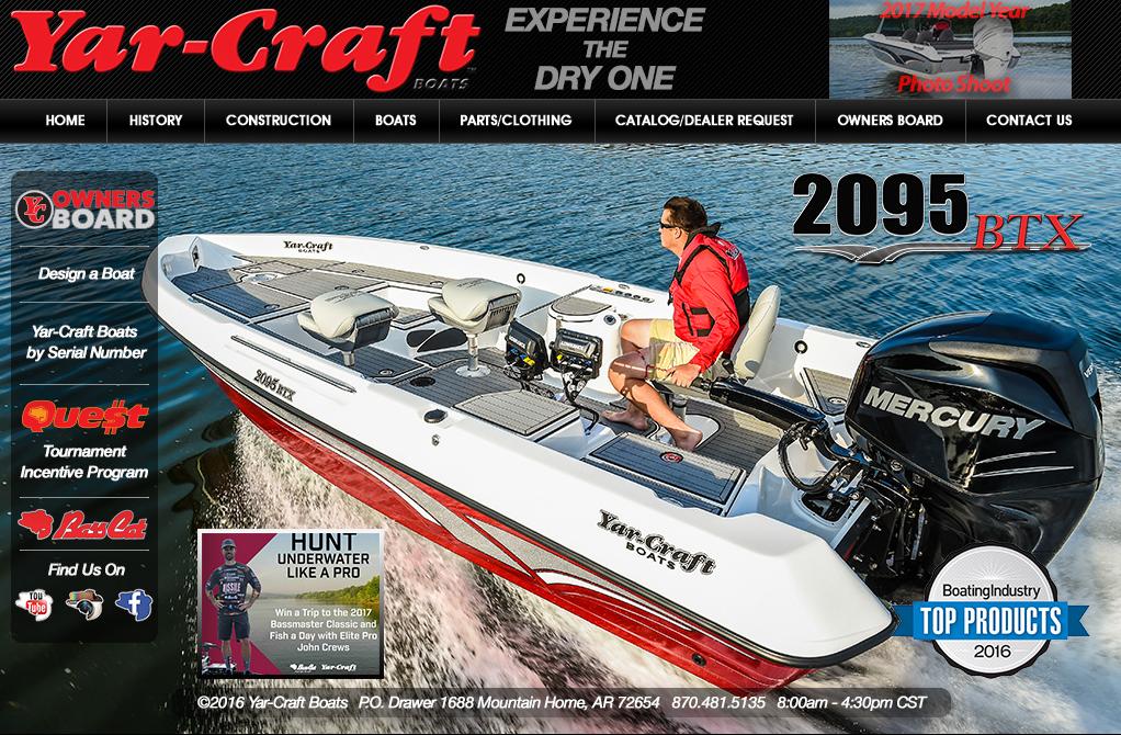 Yar-Craft Boats Full Web Design Image