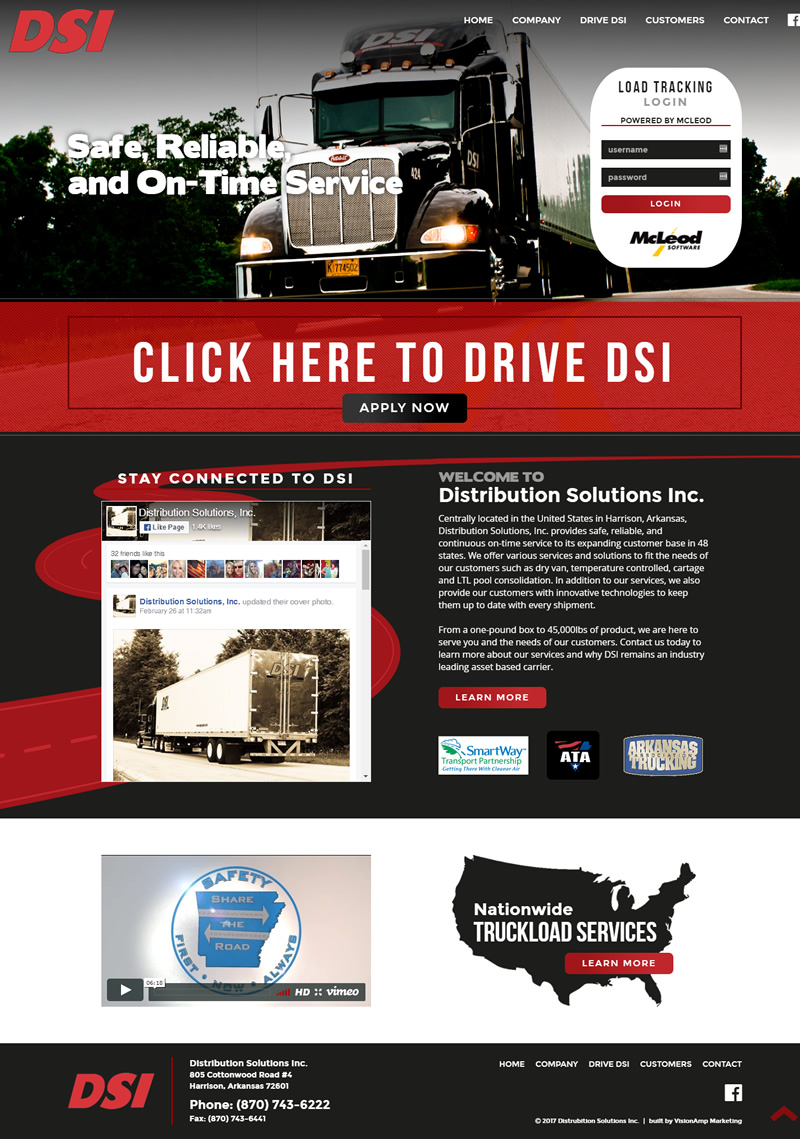 Distribution Solutions Inc Full Web Design Image