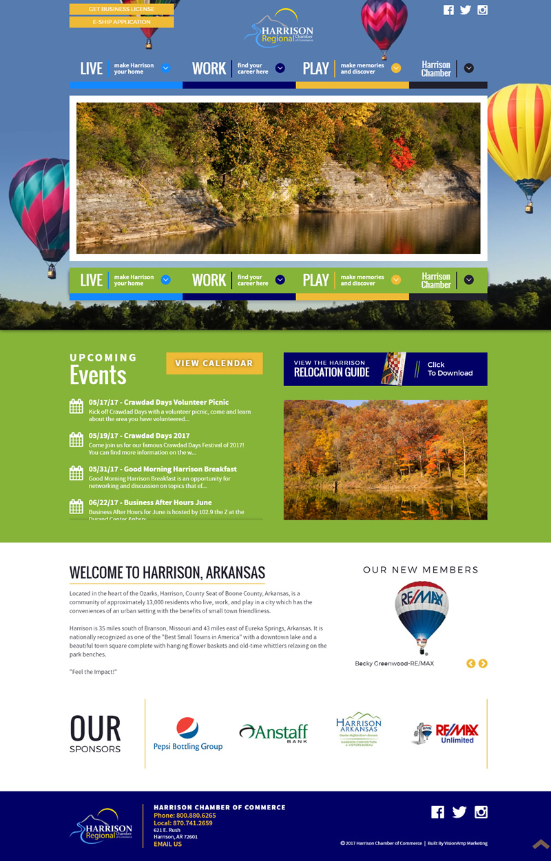 Harrison Chamber of Commerce Full Web Design Image