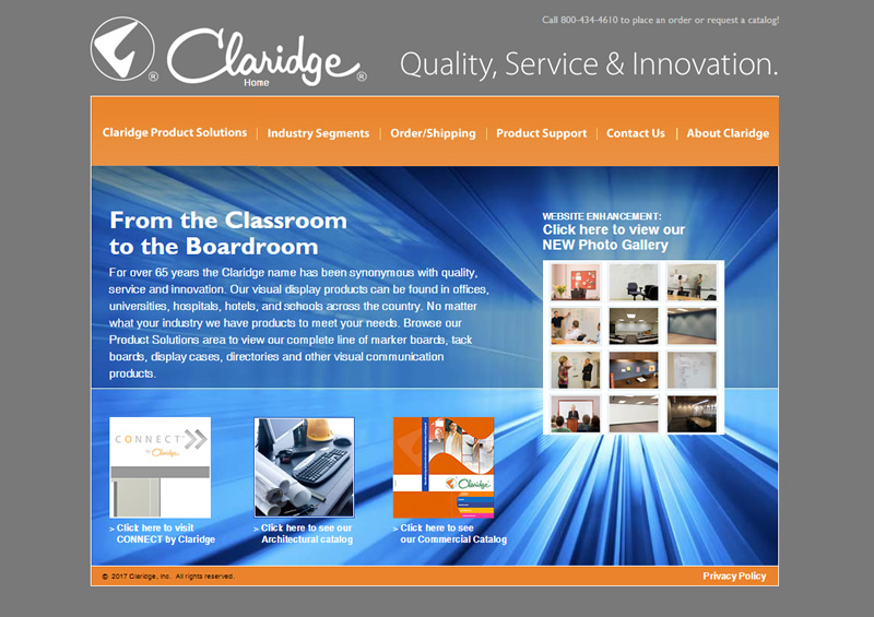 Claridge Products Full Web Design Image