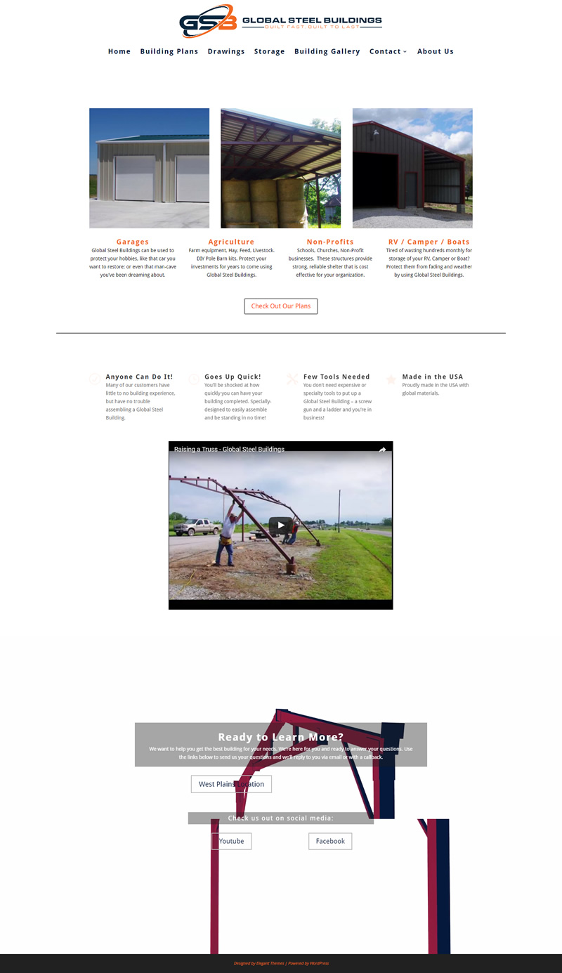 Global Steel Buildings Full Web Design Image