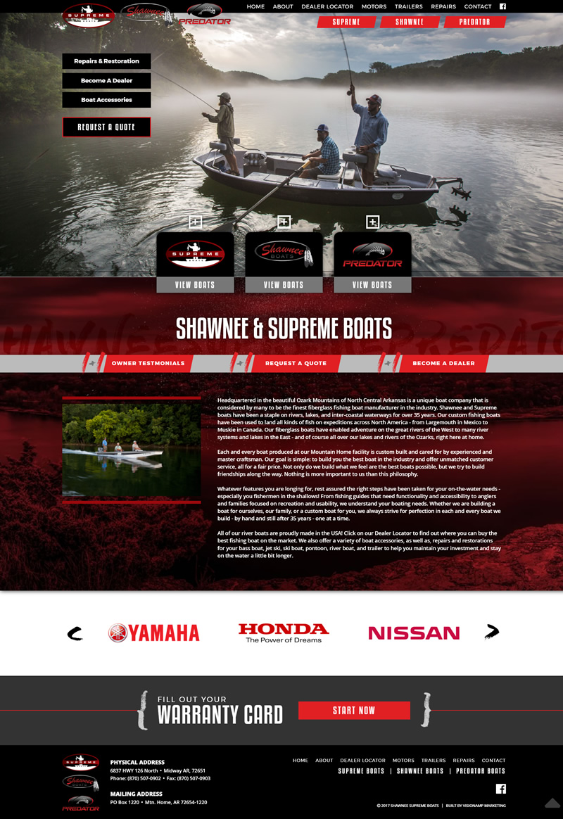 Shawnee Supreme and Predator Boats Full Web Design Image