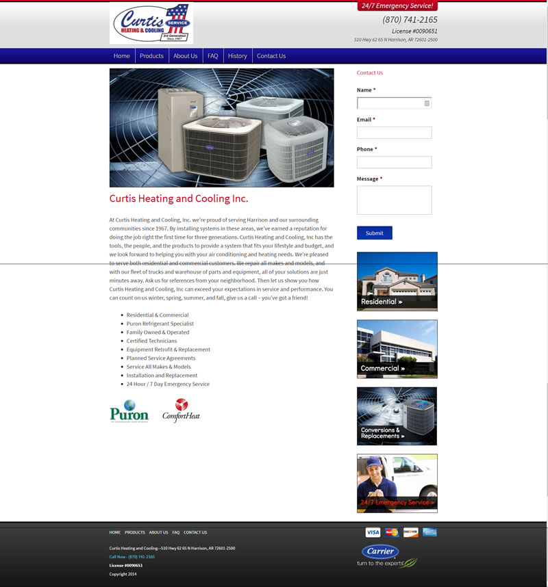 Curtis Heating and Cooling Full Web Design Image