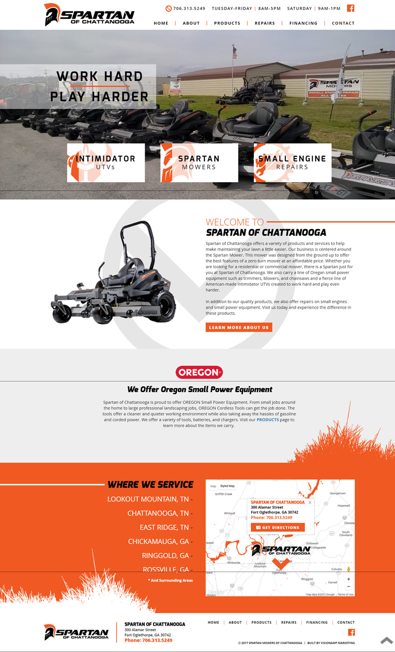 Spartan of Chattanooga Full Web Design Image