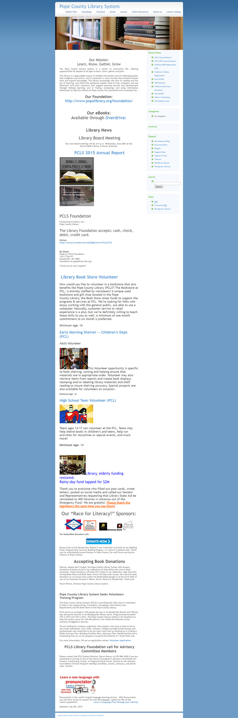 Pope County Library Systems Full Web Design Image