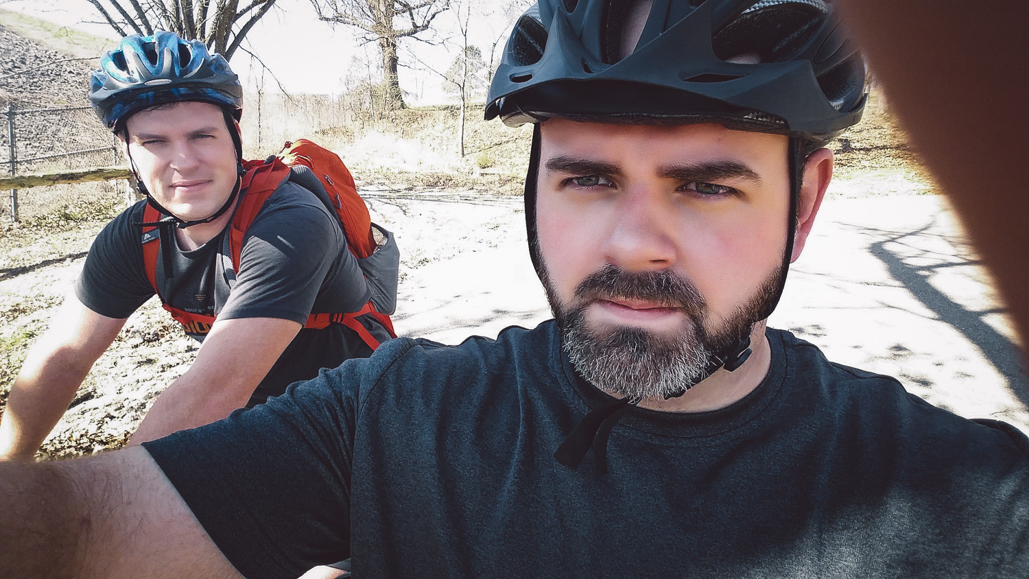 Greg and James going on a bike ride.