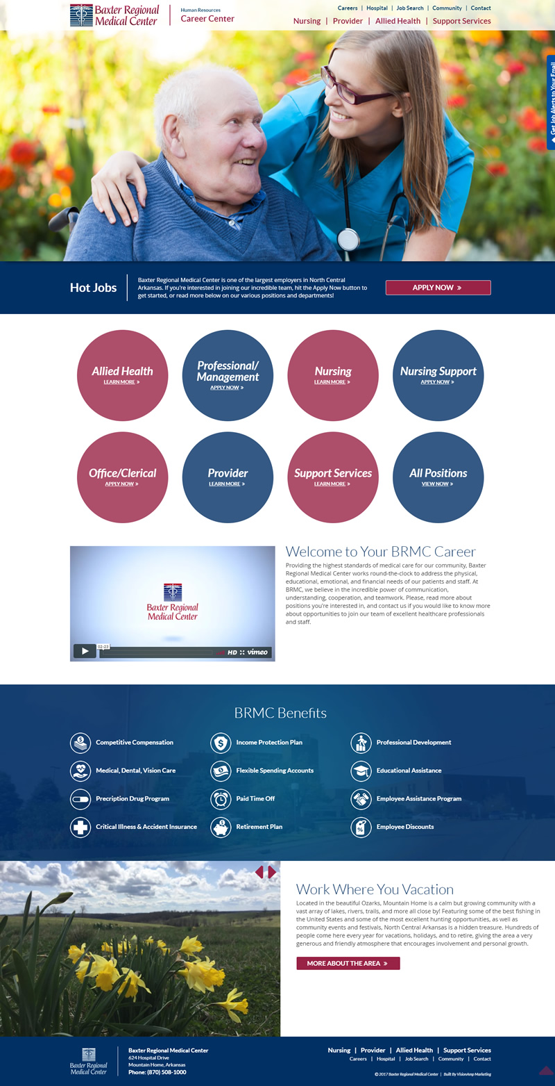 BRMC Career Center Full Web Design Image