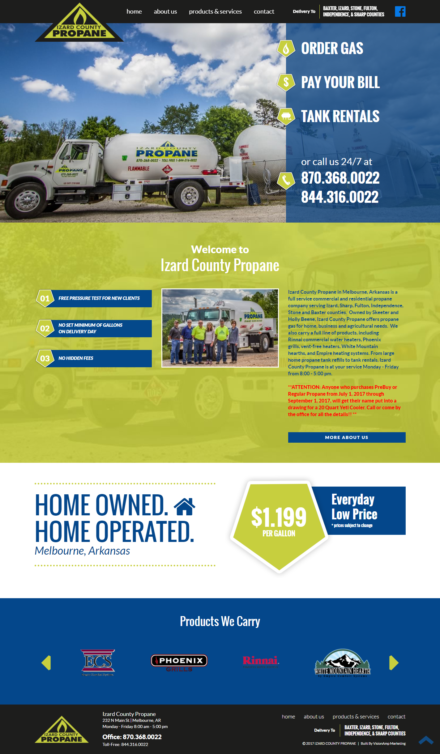 Izard County Propane Full Web Design Image