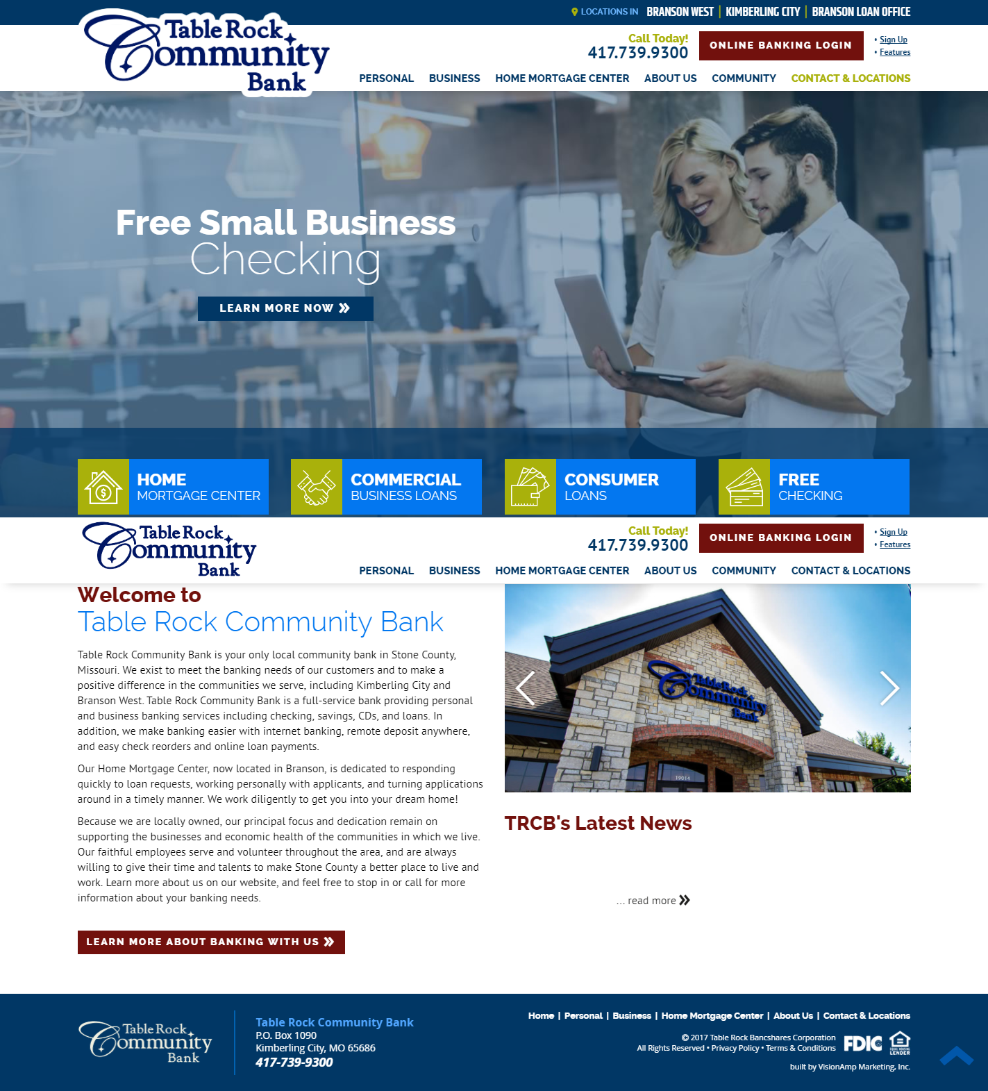 Table Rock Community Bank Full Web Design Image
