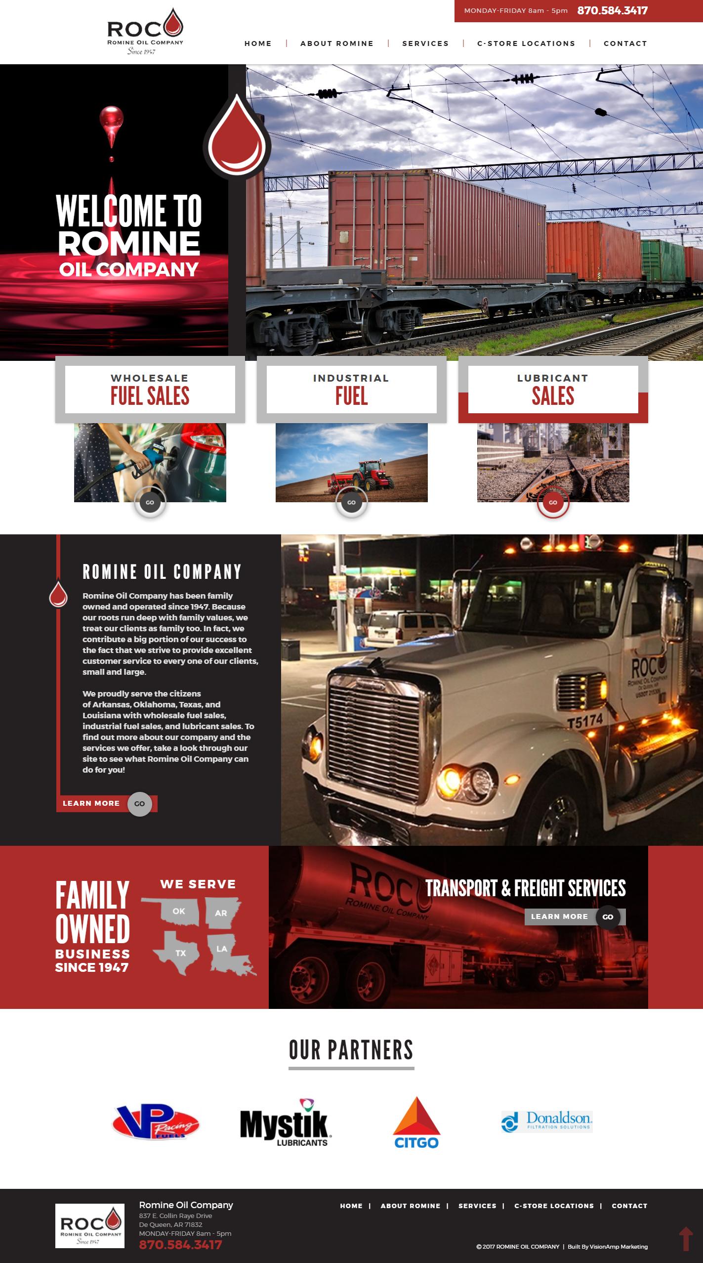 Romine Oil Company Full Web Design Image