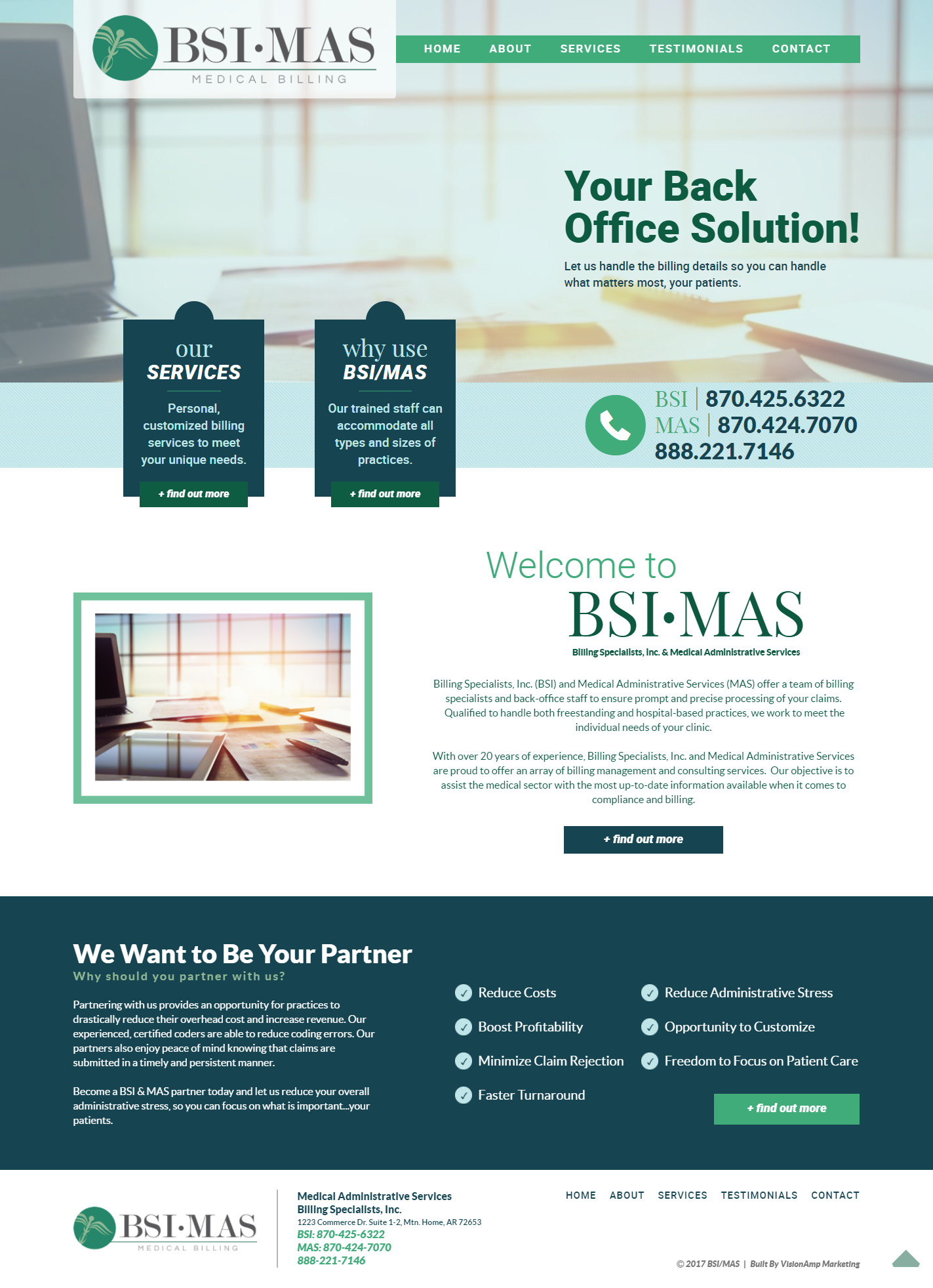 BSI MAS Billing Specialists Full Web Design Image