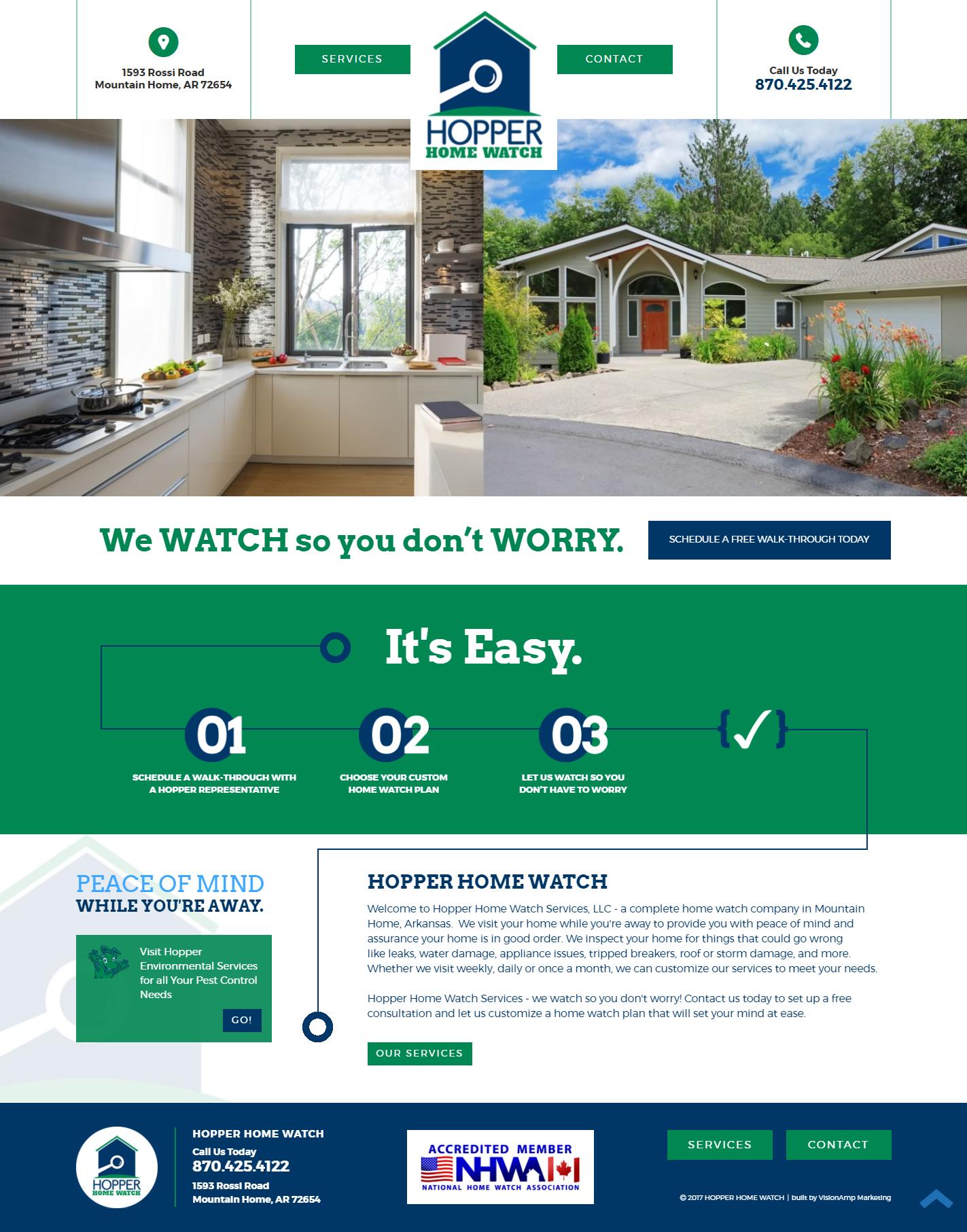 Hopper Home Watch Full Web Design Image