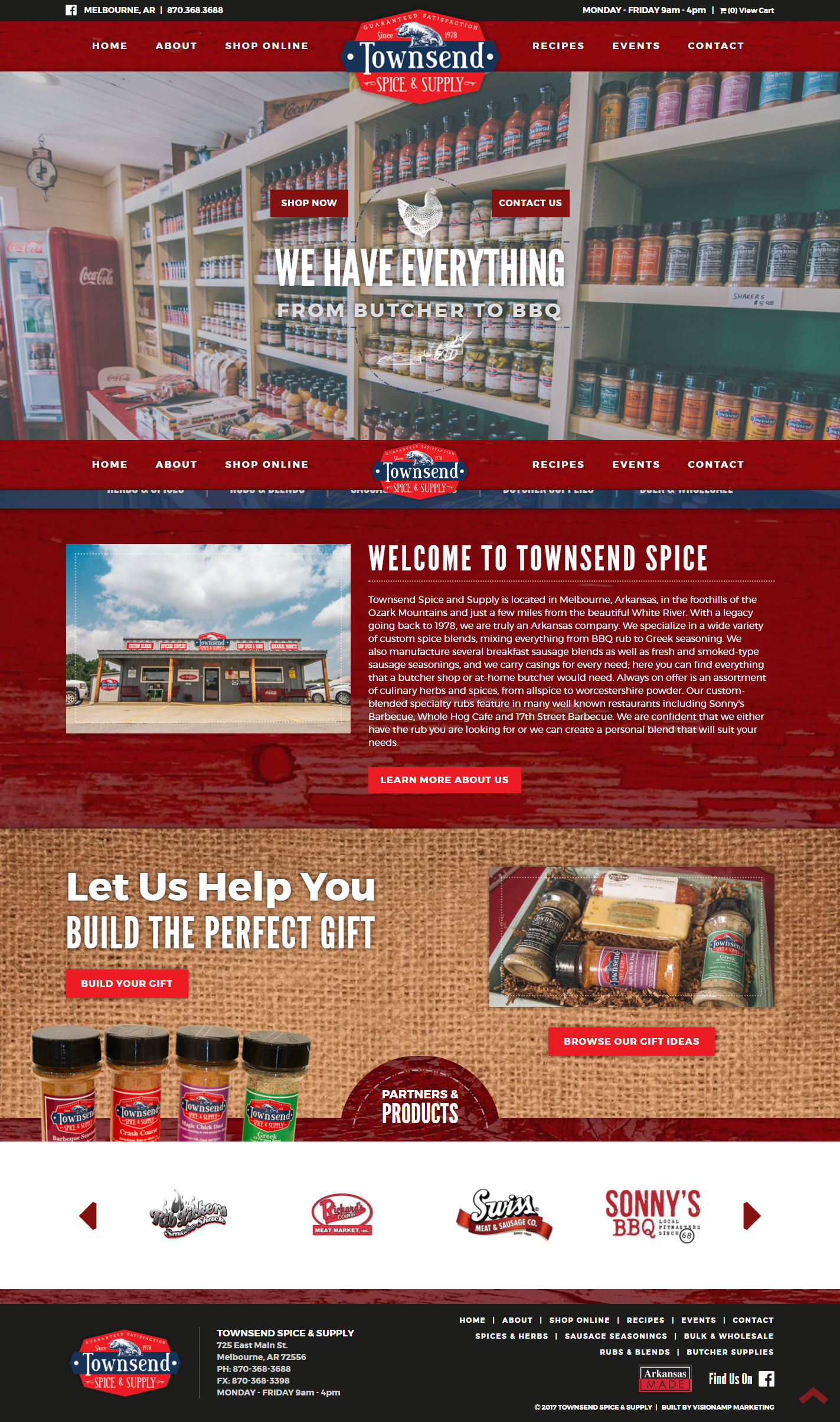 Townsend Spice and Supply Full Web Design Image