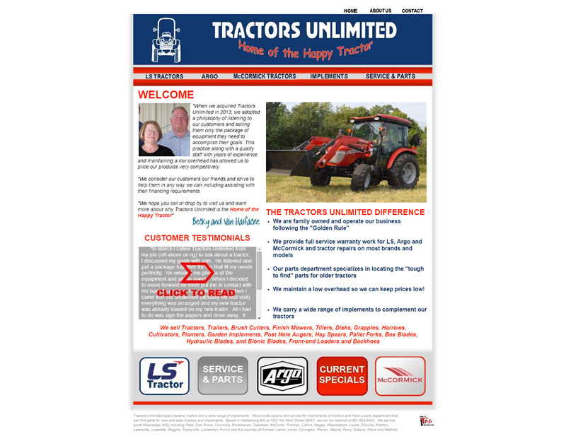 Tractors Unlimited Full Web Design Image