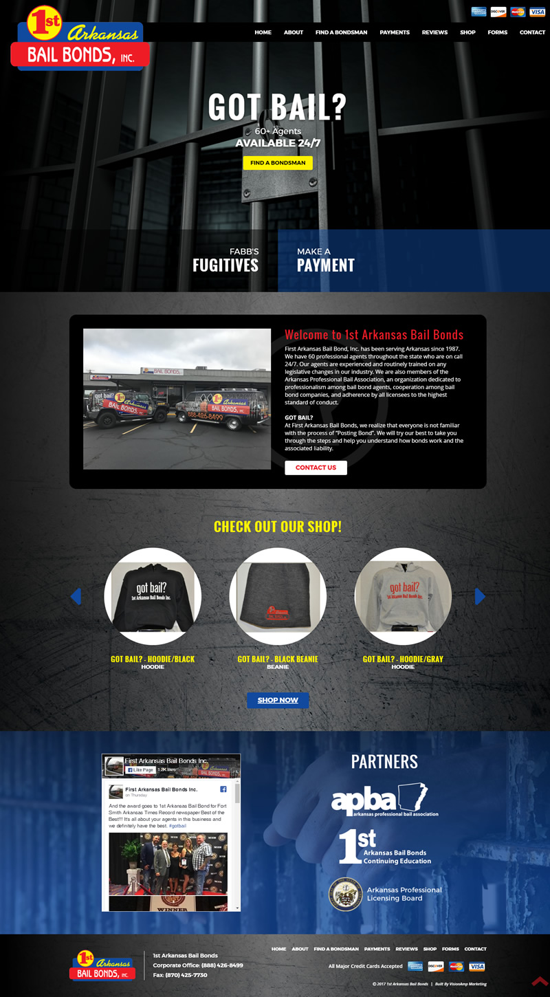 1st Arkansas Bail Bonds Full Web Design Image