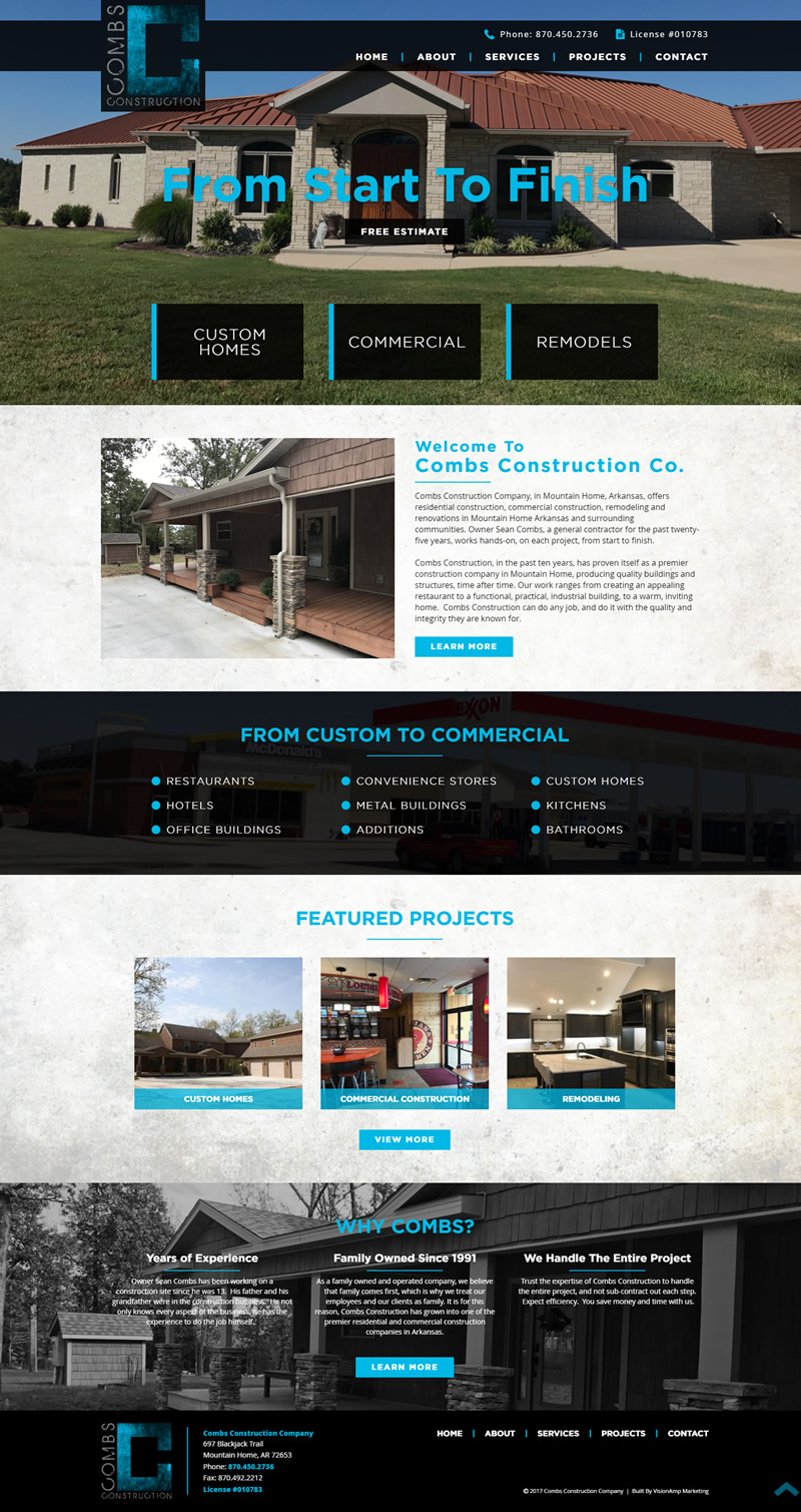 Combs Construction Company Full Web Design Image