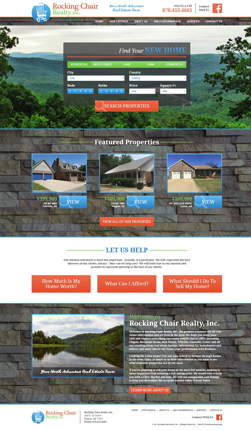 Rocking Chair Realty Full Web Design Image