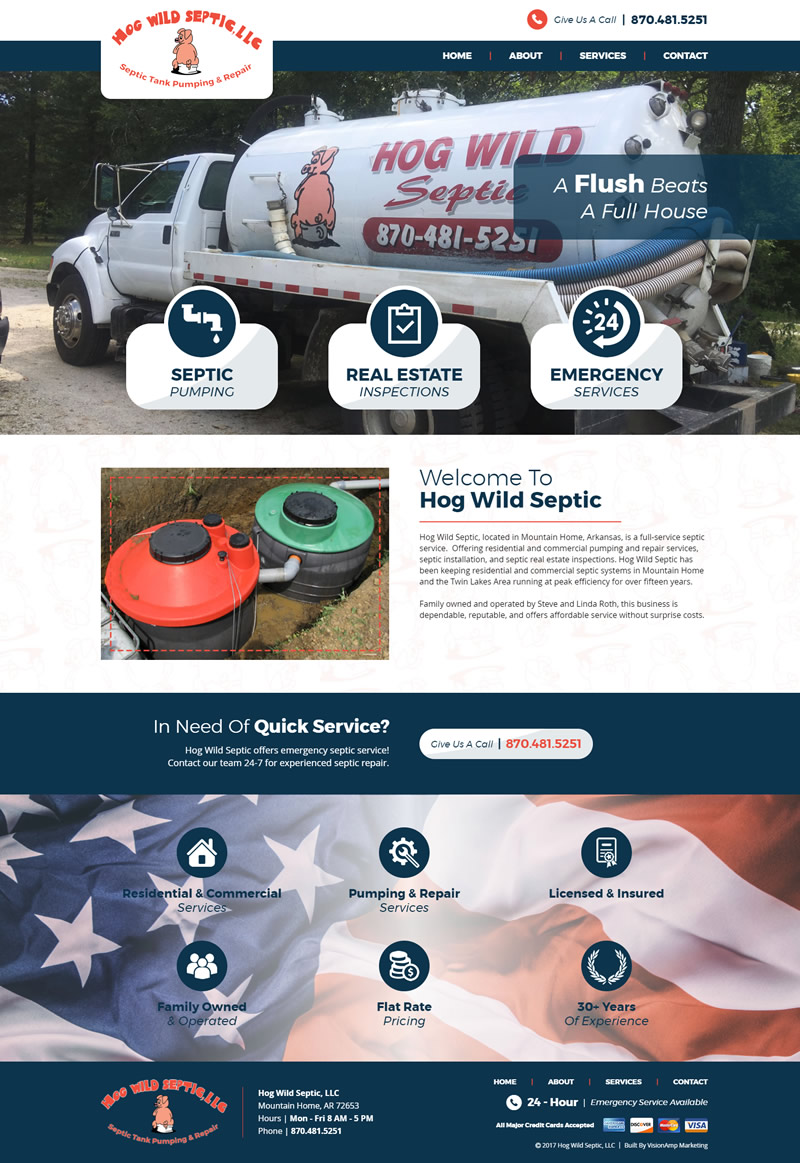 Hog Wild Septic Full Web Design Image