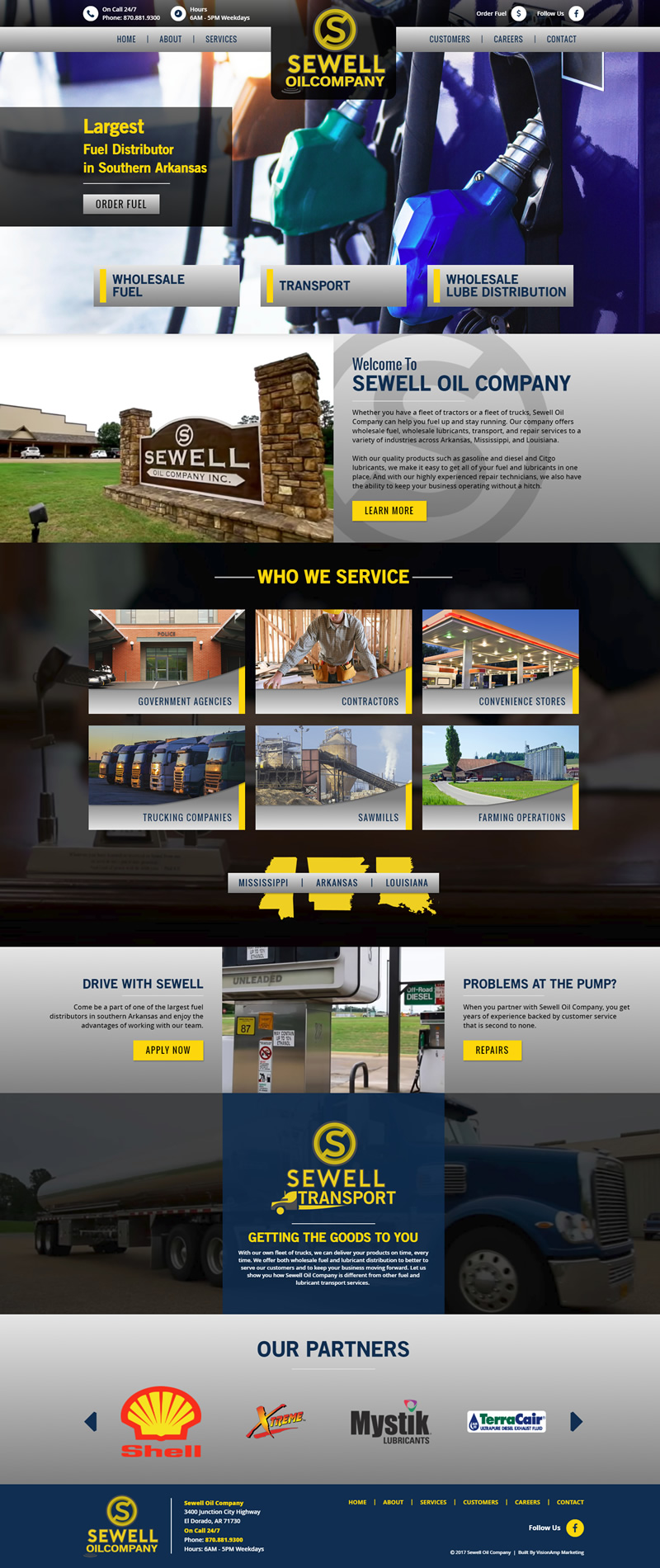 Sewell Oil Company Full Web Design Image