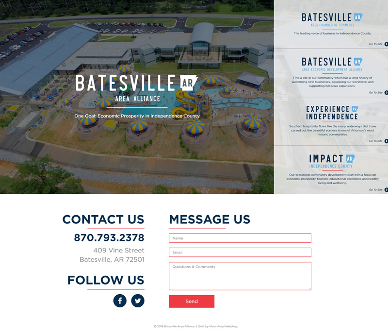 Batesville Area Alliance Full Web Design Image