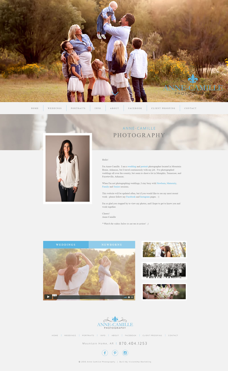 Anne Camille Full Web Design Image