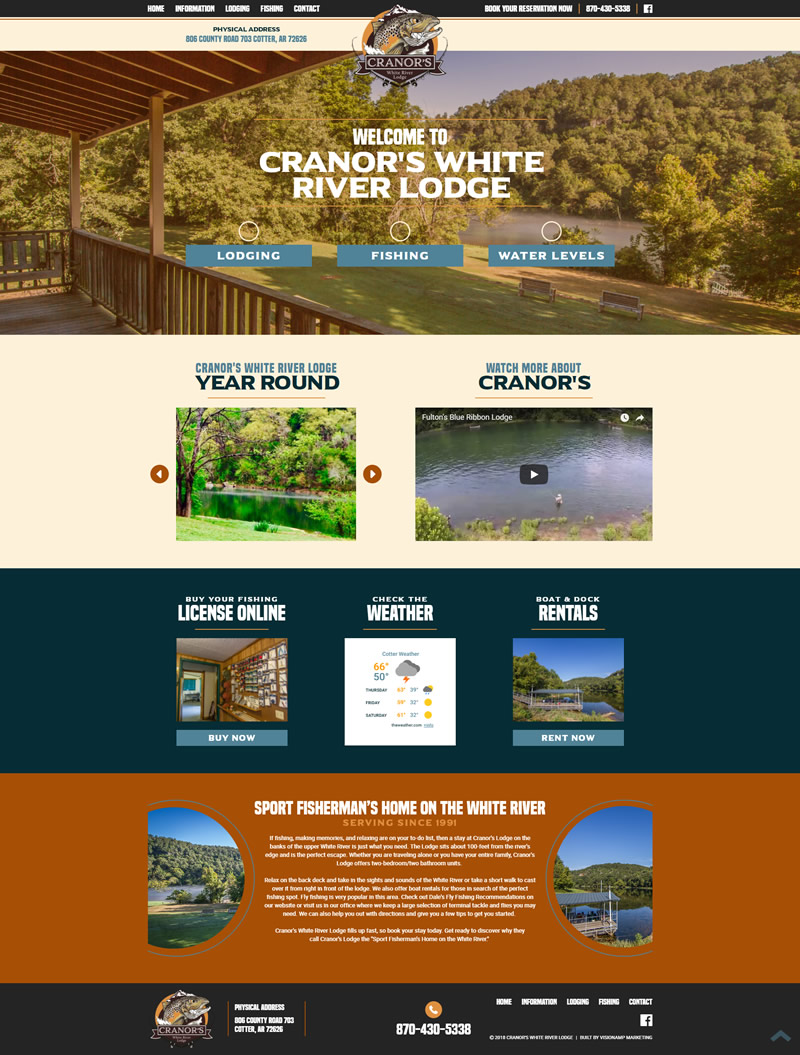 Cranors White River Lodge Full Web Design Image