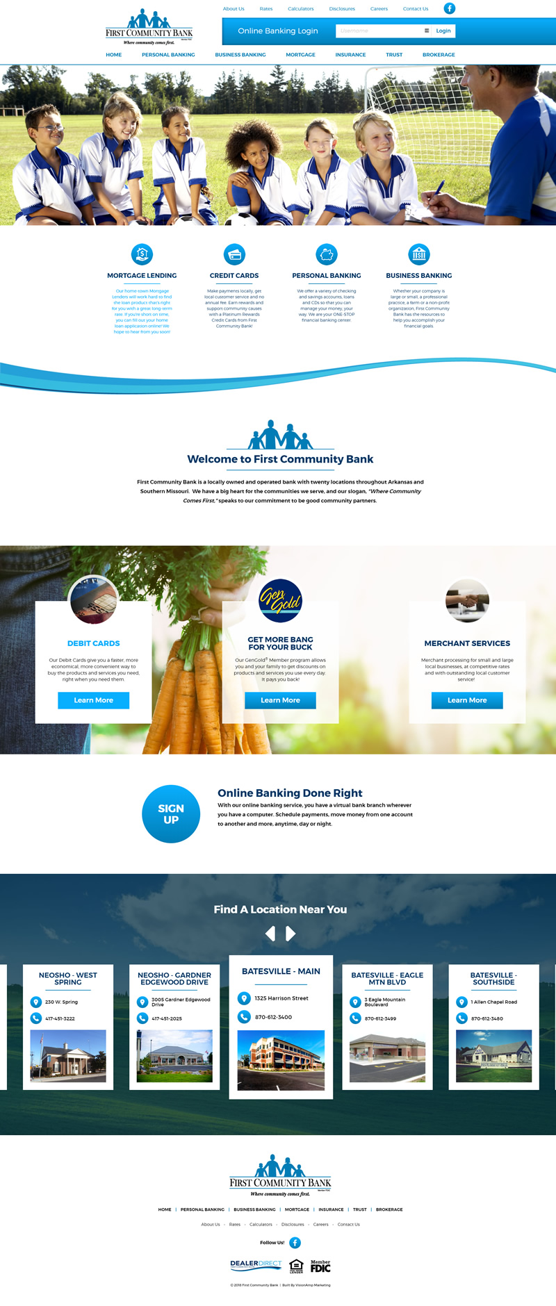 First Community Bank Full Web Design Image