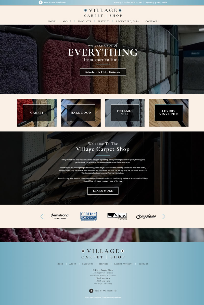 Village Carpet Shop Full Web Design Image