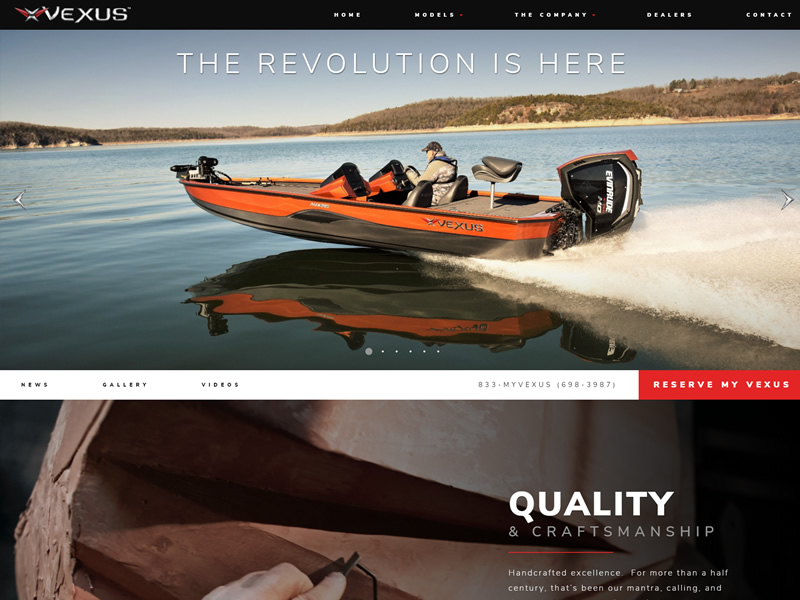 Vexus Boats Full Web Design Image