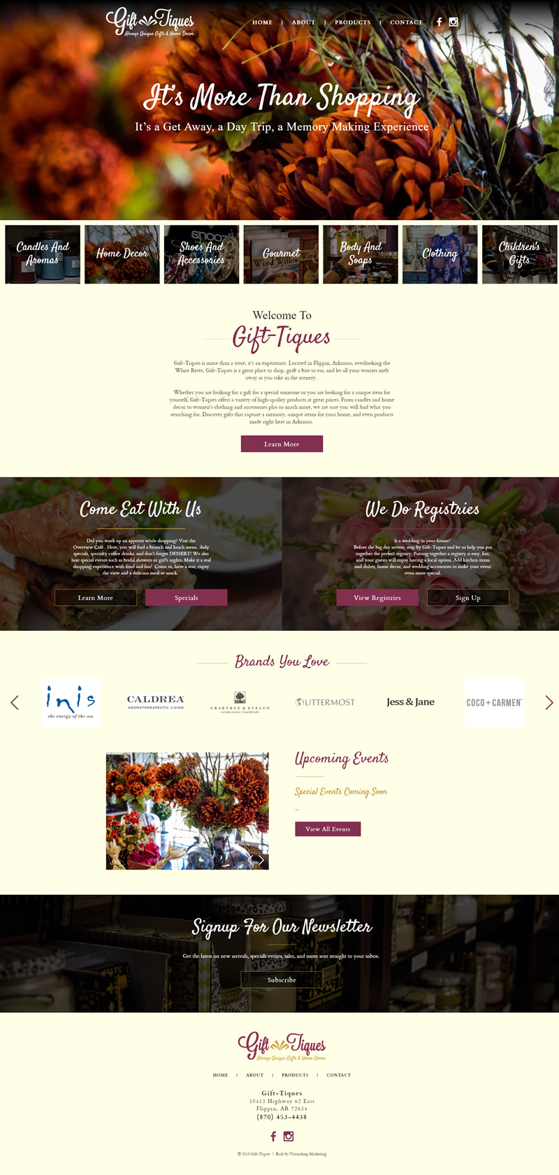 Gift Tiques Full Web Design Image
