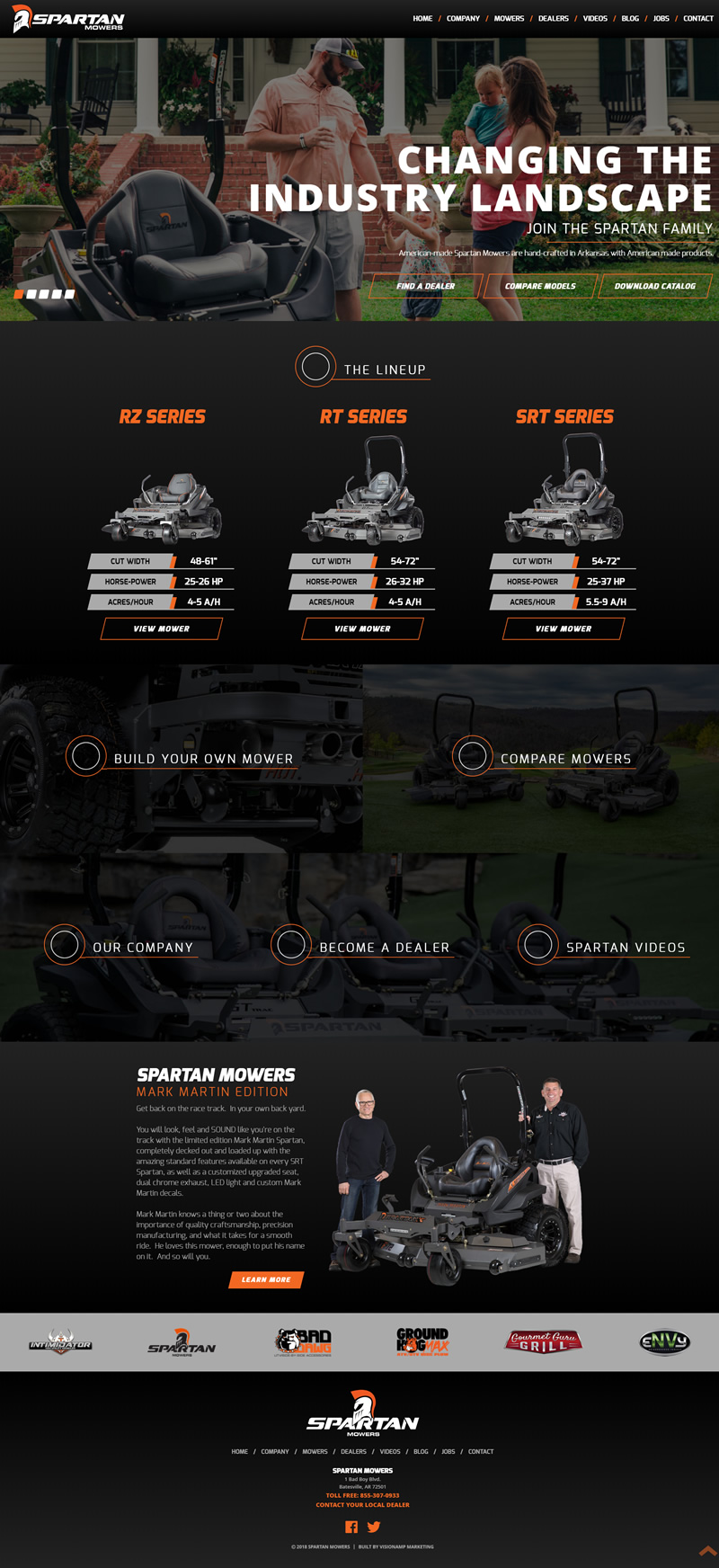 Spartan Mowers Full Web Design Image