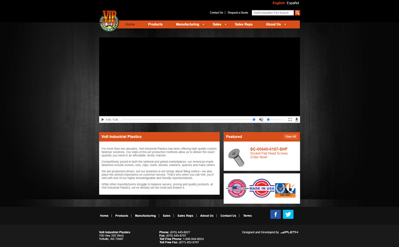 Volt Industrial Plastics Full Web Design Image