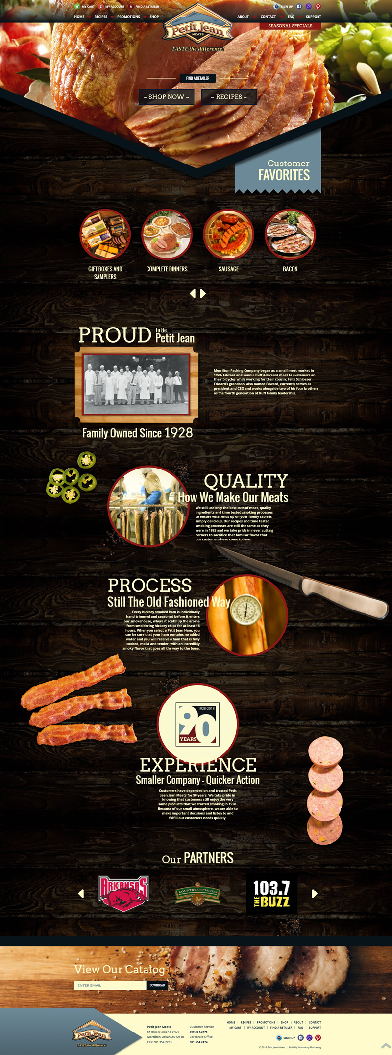Petit Jean Meats Full Web Design Image