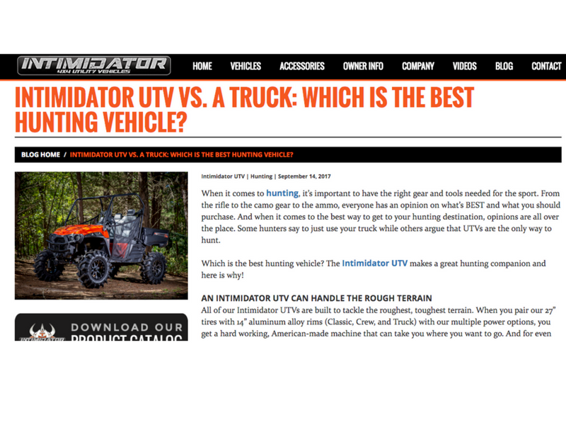 Intimidator UTV - Content Marketing