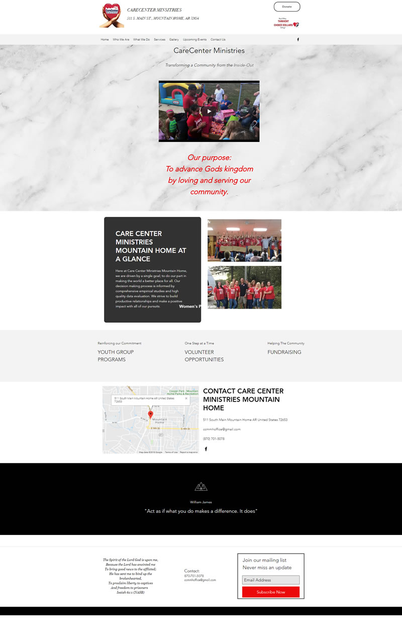 Care Center Ministries Full Web Design Image