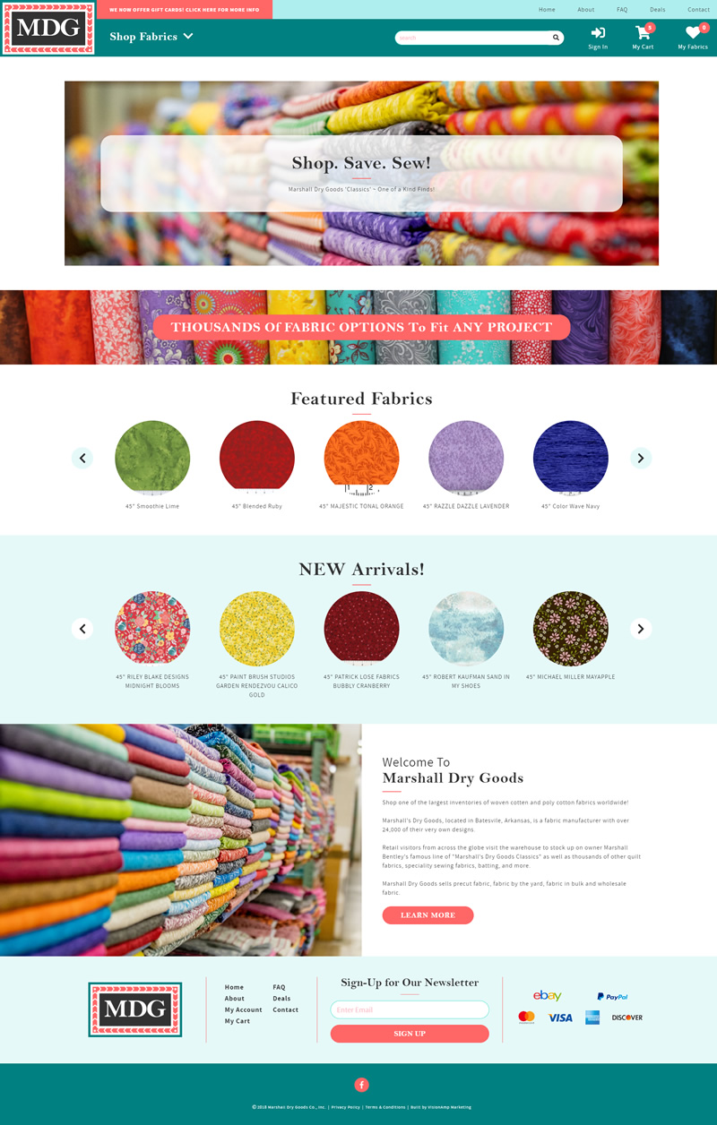 Marshall Dry Goods Full Web Design Image