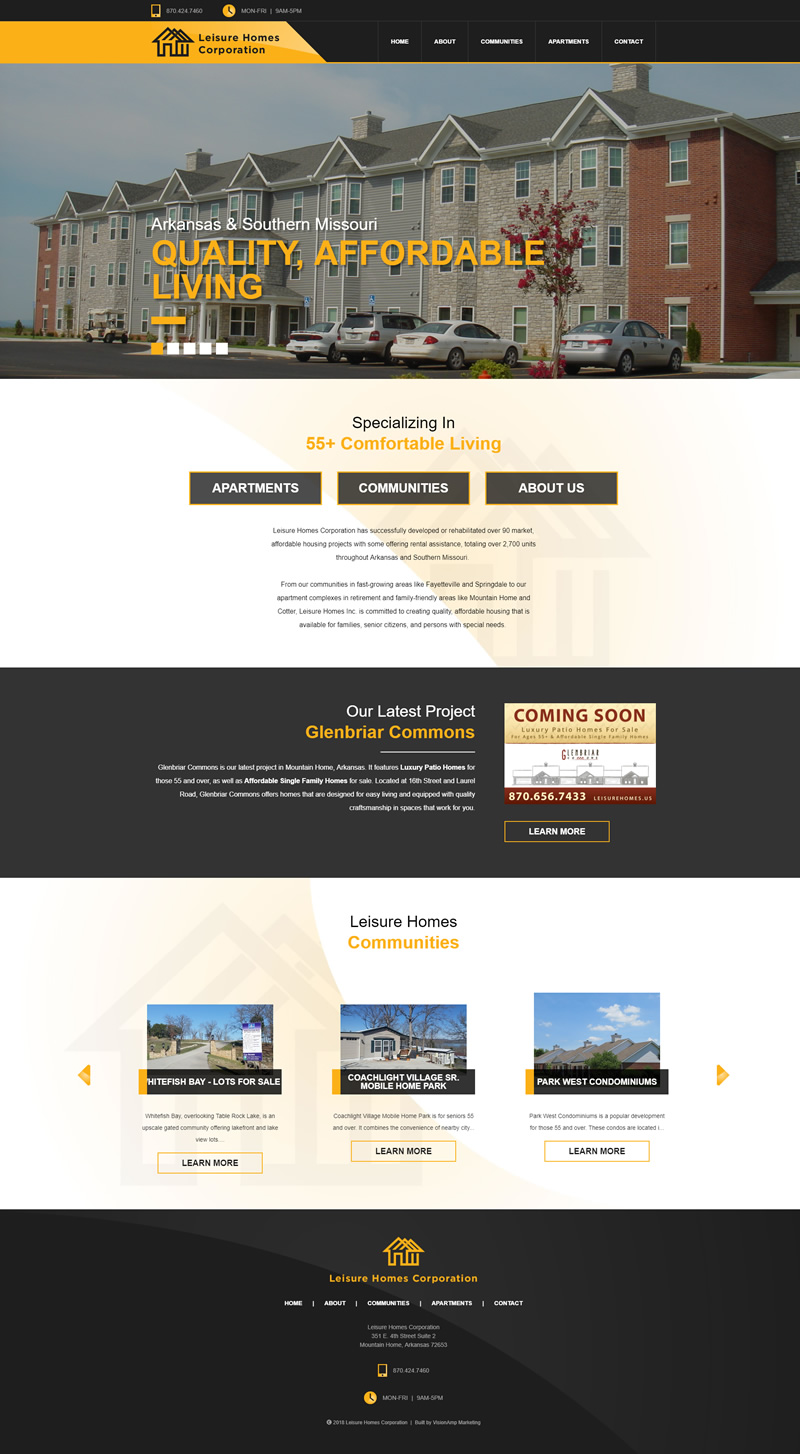 Leisure Homes Corporation Full Web Design Image