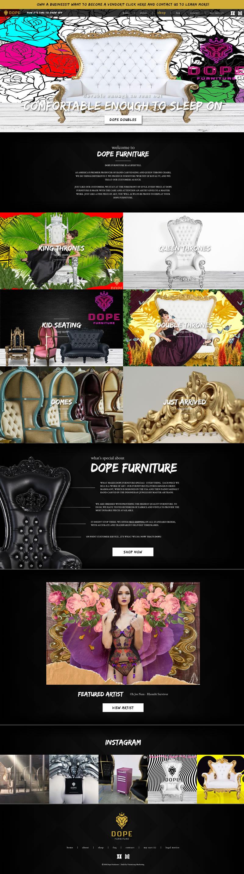 Dope Furniture Full Web Design Image