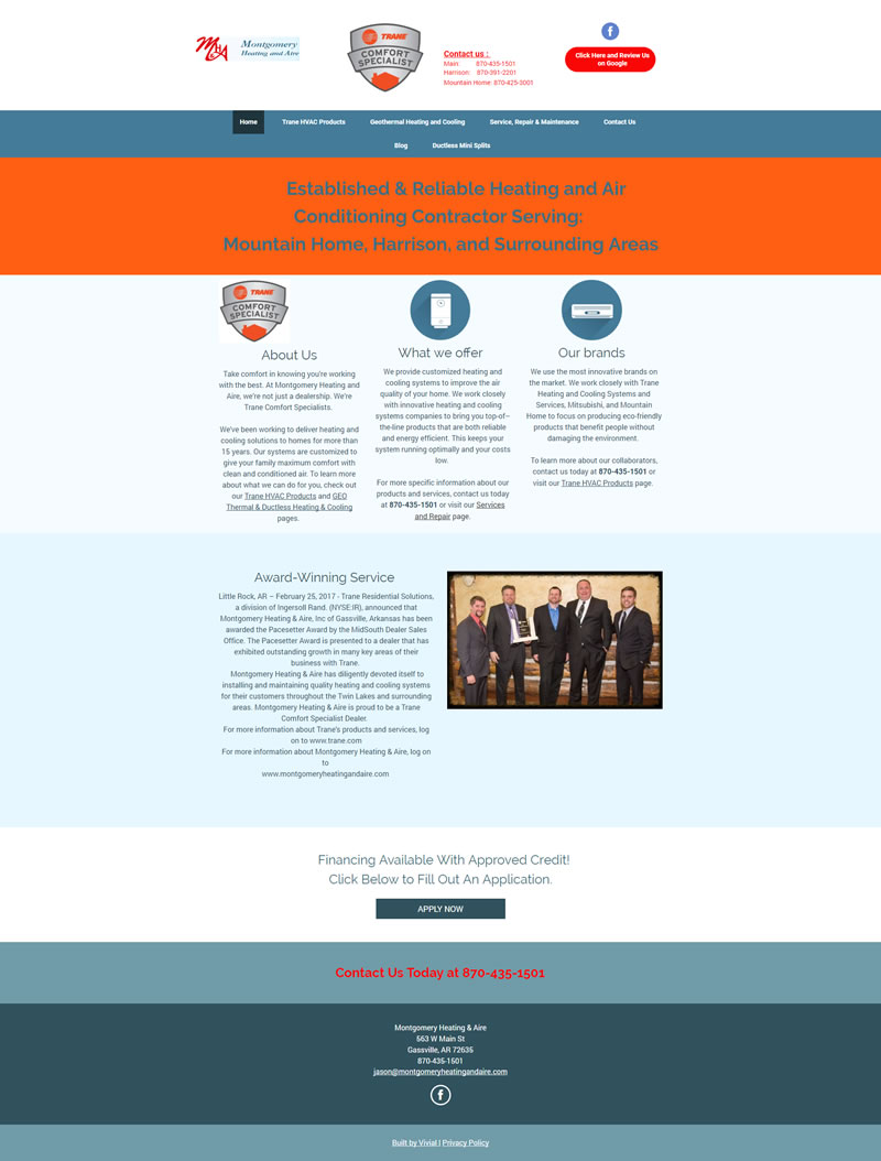 Montgomery Heating and Aire Full Web Design Image